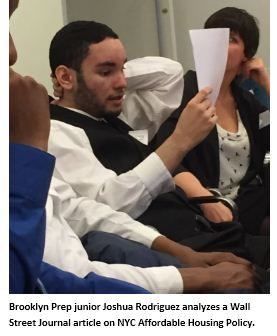 Brooklyn Prep junior Joshua Rodriguez analyzes a Wall Street Journal article on NYC Affordable Housing Policy.