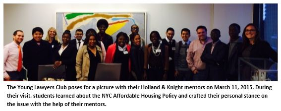 The Young Lawyers Club poses for a picture with their Holland & Knight mentors.